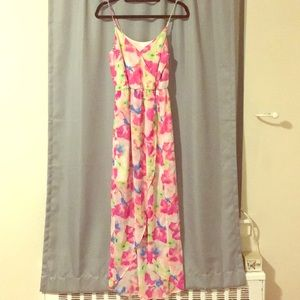 Lush Neon Floral Maxi Dress